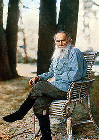 Tolstoy photographed at his Yasnaya Polyana estate in May 1908 by Sergey Prokudin-Gorsky. Only known color photograph of the writer.